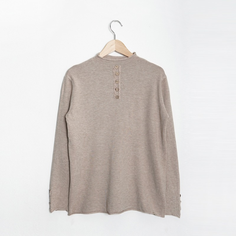Button Half Turtle Neck Soft Knit Tee_ivory