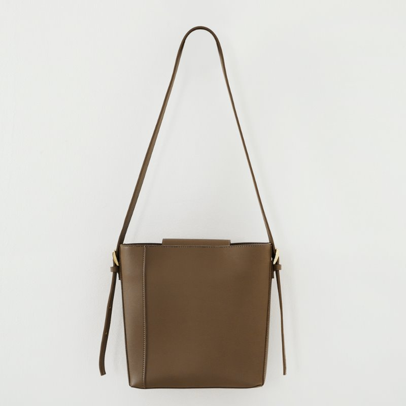 Two Way Buckle Shoulder Bag_ Olive Brown